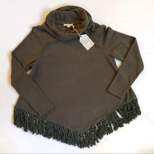Entro Green Fringe Turtleneck Sweater